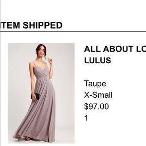 Taupe bridesmaids dress.